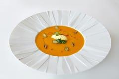 Очень вкусный суп тыквы с меньшей частью масла и фисташки Стоковое Фото