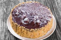 Очень вкусный торт вишни меда шоколада украшенный с шоколадом c Стоковое Фото