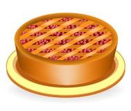 Очень вкусный торт праздника Заполнять с ягодами вишен и клюкв Славное, питательное и здоровое блюдо Соответствующий для иллюстрация штока