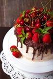 Очень вкусный торт с украшением клубники, вишни и шоколада Стоковое Фото