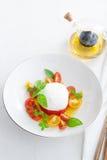 Очень вкусный caprese салат с зрелыми томатами вишни и сыром моццареллы с свежими листьями и оливковым маслом базилика итальянско стоковые изображения
