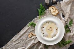 Очень вкусный cream суп с взгляд сверху грибка меда Стоковое Изображение RF