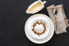 Очень вкусный cream суп с взгляд сверху грибка меда Стоковые Изображения RF