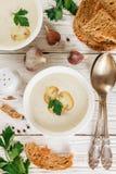 Очень вкусный cream суп с champignons грибов Стоковые Изображения RF