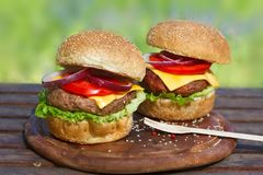2 очень вкусных бургера на деревянной доске Стоковая Фотография