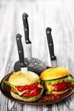 3 очень вкусных бургера Стоковое фото RF