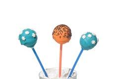3 очень вкусных покрашенных cakepops Стоковое Изображение RF