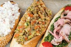 3 очень вкусных сандвича закрывают вверх Стоковое фото RF