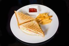 2 очень вкусных сандвича с фраями и соусом Стоковые Фото