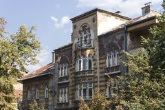 Очень загубленный строя фасад в Сараеве, после войны Стоковое фото RF