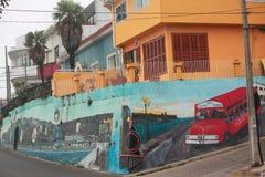 Очень интересные граффити на 2 стенах внутри Стоковые Фото