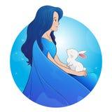 Очень красивая девушка с кроликом пасхи иллюстрация вектора