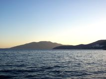 Очень красивый заход солнца на штиле на море стоковое фото rf