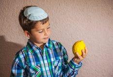 Очень красивый мальчик внутри держит цитрус Стоковые Изображения RF