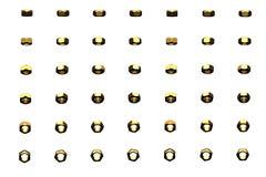 Очень много желтых, золотых внутренних винтов вращанных различными углами изолированными на бело- славной промышленной 3D иллюстр иллюстрация вектора