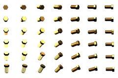 Очень много желтых, золотых клинчеров вращали различными углами изолированных на бело- творческой промышленной 3D иллюстрации, из иллюстрация штока