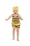 Очень радостная маленькая девочка в костюме пчелы Стоковая Фотография RF