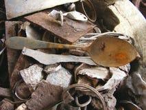 Очень старая ржавая ложка Стоковое Фото