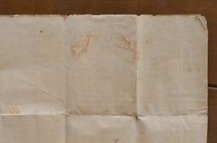 Очень старая скомканная текстура коричневой бумаги Стоковая Фотография