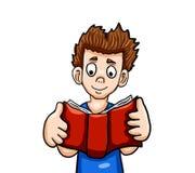 Очень счастливый мальчик читая книгу Стоковые Изображения RF