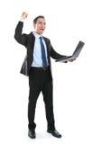 Очень счастливый успешный бизнесмен с компьтер-книжкой стоковые фотографии rf