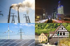 Очистите против пакостной энергии Панели солнечных батарей и ветротурбины против fu Стоковые Фото