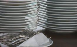 очистьте плиты вилок Стоковая Фотография RF