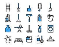 Очищая набор значка оборудования Линия стиль вектора тонкая бесплатная иллюстрация