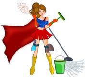 Очищая супер женщина иллюстрация штока