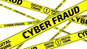 ОЧКОВТИРАТЕЛЬСТВО КИБЕР Злодеяние цифров Желтые предупреждающие ленты иллюстрация штока