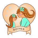 дочь ее детеныши мати Сердце иллюстрация штока