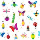 Ошибки, бабочки и другая картина насекомых безшовная, милый дизайн также вектор иллюстрации притяжки corel бесплатная иллюстрация