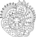 Оягнитесь вычерченная мандала с элементами солнца и природы - doodle расцветка иллюстрация вектора