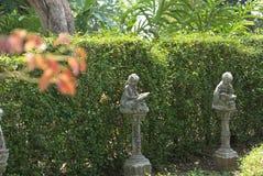 Оягнитесь книга чтения статуи ` s в парке ферзя Sirikit стоковое фото