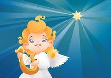 Оягнитесь летание арфиста музыканта ангела на ночном небе делая музыку на арфе Стоковые Фотографии RF