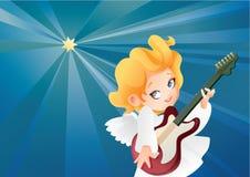 Оягнитесь летание гитариста музыканта ангела на ночном небе делая музыку на гитаре Стоковые Изображения