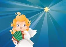 Оягнитесь летание музыканта ангела на ночном небе делая музыку на аккордеоне Стоковая Фотография