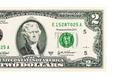 2 доллара изолированного на белой предпосылке Стоковое Изображение RF