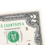 2 доллара изолированного на белой предпосылке Стоковые Фото