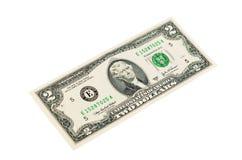 2 доллара изолированного на белой предпосылке Стоковые Фотографии RF