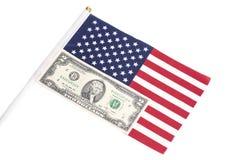 2 доллара на американском флаге Стоковая Фотография RF