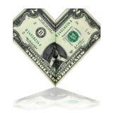 2 доллара, сложенного в форме сердца Стоковое Изображение
