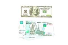 100 долларовая банкнота и рублей Стоковые Изображения