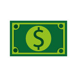 долларовая банкнота, иллюстрация вектора над белой предпосылкой Стоковые Фотографии RF
