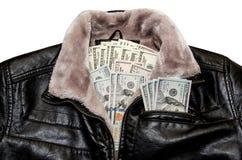100 долларовых банкнот в карманн Стоковое фото RF
