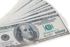 100 долларовых банкнот в конце вверх по фото, u S валюта Стоковое Изображение