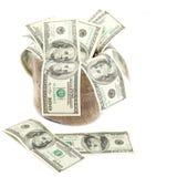 100 долларовых банкнот в мешке холста Стоковые Фотографии RF