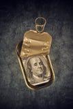 100 долларовых банкнот в открытой пустой жестяной коробке рыб сардины Стоковое Изображение RF