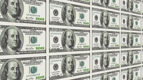 100 долларовых банкнот в перспективе расстояния 3d Стоковая Фотография
