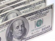 100 долларовых банкнот в u S Валюта на белой предпосылке Стоковое Фото
